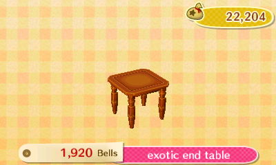 Exotic End Table Is A Piece Of Furniture In Animal Crossing: New Leaf. You  Can Use It To Decorate Your Home Or Museum Exhibit.